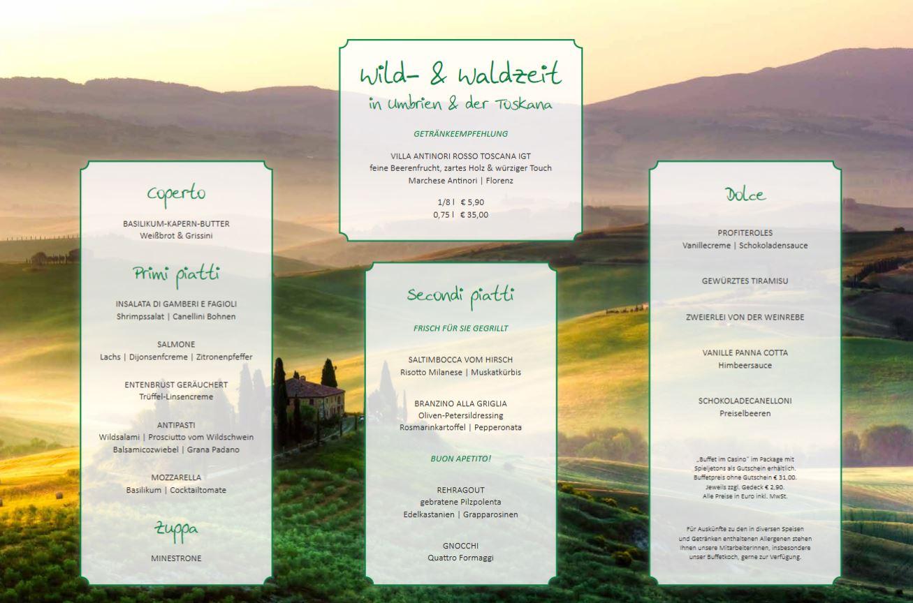 Wild- & Waldzeit in Umbrien & der Toskana - das Buffet-Thema im Casino Baden