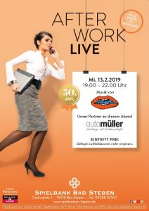 Spielbank Bad Steben: 50. After Work Live Party mit The Silhouettes