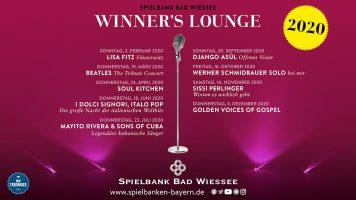 Winner's Lounge 2020 in der Spielbank Bad Wiessee: Neun Veranstaltungen mit Top-Künstlern