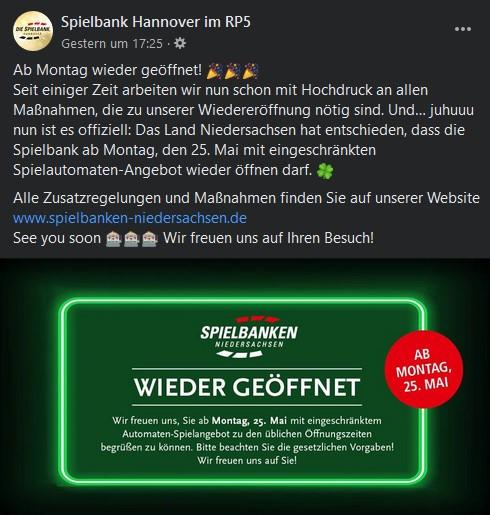 Spielbanken Niedersachsen starten das Automatenspiel